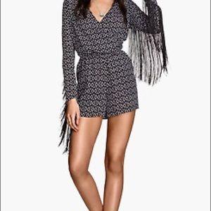 H&M Coachella Black and White Fringe Romper